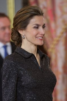 King Felipe VI of Spain and Queen Letizia of Spain attend the annual Foreign Ambassadors reception at the Royal Palace on January 21, 2015 in Madrid, Spain