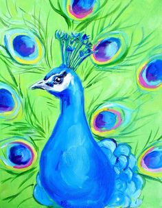 easy peacock paintings - Google Search