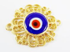 Curly Filigree Connector Royal Blue Artisan Glass by LylaSupplies, $7.00