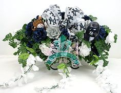 New York Yankees WhiteNavy Roses with White Wisteria Cemetery Tombstone Saddle Arrangement ** This is an Amazon Affiliate link. You can get additional details at the image link.