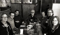lunch break - L to R Barry Walsh, Will Kimbrough, Nick Buda, Dave Roe, Chad Brown, Jerry Douglas, Gretchen
