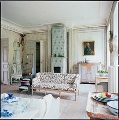 Swedish living room with tile stove, uncredited