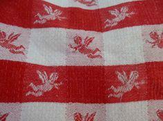 ENGEL - Stoff - rot/weiss durchgewebt zum Verarbeiten 40 x 70 cm