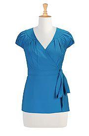 Vintage style crepe wrap blouse