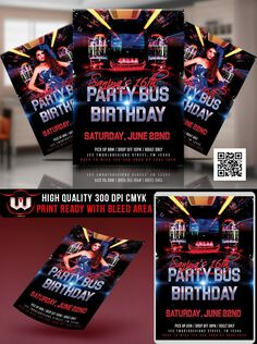 Party bus invitation WE EDIT AND YOU PRINT We can change colors, texts, fonts We can add, remove elements We will send you the first proof in less than 24 hours by email You will receive two (2) high resolution files : a file to PRINT and a file for WEB PRINT: you can print as many as you want WEB: you can text it, use it for social networks UNLIMITED REVISIONS WHAT WE NEED We need all the information. For example: EVENT NAME, DATE, TIME, ADDRESS, RSVP HOW TO PLACE YOUR ORDER Purchase the Item a Birthday Flyer, Birthday Bash, Birthday Invitations, Party Bus, Party Flyer, Invitation Design, Invite, Invitation Templates, Dirt Bike Birthday