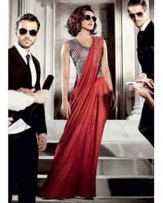 Red Lycra Saree Gown Suit