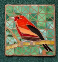 Mosaic Trivet Cardinal waiting for another cardinal song's-469