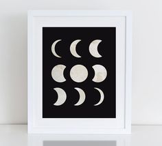 Moon Phases Art Print, Instant Download, Printable Digital Art Print, Moon Art Print, Nursery Print, Nursery Moon, Moon Phase Calendar