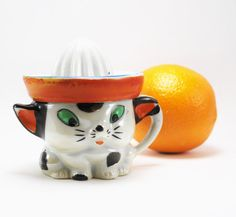 Vintage Child's Juice Reamer and Cat Figurine Cup by BichenVintage