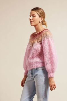Knitting Patterns Mohair Cardigan with a high collar - Women Sweater Knitting Patterns, Cardigan Pattern, Knitting Designs, Knitting Sweaters, Chunky Knitwear, Mohair Sweater, Rose Sweater, Mohair Yarn, Angora