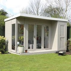 Urban Garden 12 x 8 Waltons Contemporary Summerhouse with Side Shed (RH) - This Waltons Contemporary Summerhouse is perfect for the warmer weather. Modern and practical, ideal for the family garden. Summer House Garden, Home And Garden, Summer Houses, Summer House Decor, Summer Sheds, Contemporary Garden Rooms, Contemporary Decor, Garden Cabins, Tiny Cottages