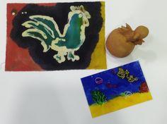 Warsztaty w Łucznicy. Batik, figurki gliniane, malunek na szkle.