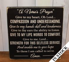 A Nurse's Prayer Sign/Wood Sign/Nurse by WorldsSweetestSigns