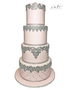 Pink and Silver lace and beaded wedding cake! Call or email to order your elegant celebration cake today. Beaded Wedding Cake, Wedding Cakes, Lace Beadwork, Cakes Today, Cupcake Wars, Celebration Cakes, Custom Cakes, Cake Art, Cake Designs