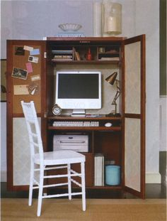 Armoire Office 7 Places to Fit an Office in the Living Room from Apartment Therapy Home Office Closet, Home Office Organization, Home Office Space, Organizing Your Home, Home Office Furniture, Home Office Decor, Home Decor, Office Nook, Office Setup