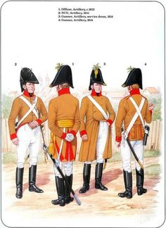 Austrian; Artillery, NCO,1813. Officer, 1814. Gunner, Service Dress, 1814 & Gunner 1814.