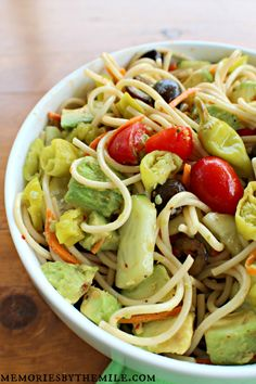 Delicious and fresh Summer Spaghetti Salad with a Roasted Red Pepper Vinaigrette @ http://memoriesbythemile.com/2015/06/03/spaghetti-salad/