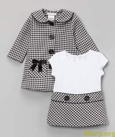 Loving this Gerson & Gerson Black Houndstooth Bow Peacoat & Dress - Infant, Toddler & Girls on Toddler Girl Dresses, Little Girl Dresses, Toddler Outfits, Kids Outfits, Toddler Girls, Toddler Hair, Baby Girls, Little Girl Fashion, Toddler Fashion