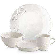 White Dish Set, White Orchids, Dish Sets, White Shop, Fine China, Simple Designs, Tablescapes, Dinnerware, Stoneware