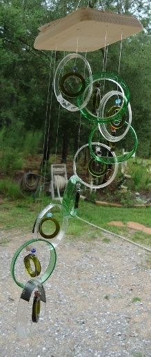 RECYCLED GREEN & OLIVE bottles into windchimes by Liftingupspirits, $25.00