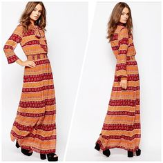 Boho floral maxi Very hippie floral maxi dress features 3/4 sleeves. Round neckline with scarf detail  Striped design  Elasticated shirred waistband  Regular fit - true to size Machine wash 100% Polyester. New in bag First And I Dresses Maxi