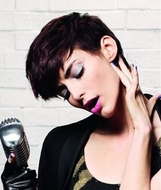 Short Black straight choppy rock-chick French Womens haircut hairstyles for women
