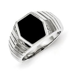 Gemologica Men's Hexagon-Shaped Black Onyx CZ Ring In Sterling Silver Jewelry - A bold mix of black onyx and CZ gemstones will add a classy touch to any man's finger. This men's o Titanium Jewelry, Sterling Silver Jewelry, Promise Rings For Guys, Rings For Men, Mens Claddagh Ring, Men's Jewelry Rings, Man Jewelry, Mens Gemstone Rings, Black Onyx Ring