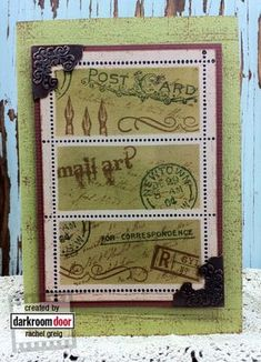 Correspondence and Mail Art stamps with Archival Sepia and Olive inkpads. - See more at: http://rachelgreig.typepad.com/darkroomdoor/2012/07/postal-3up-frame-stamp-ideas.html#sthash.j19HnAX9.dpuf