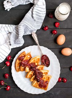 Crispy Waffles with Cherry Compote Recipe | NeighborFood