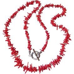 """Artisan Red Branch Coral & Bali Sterling Silver 34"""" Long Necklace"""