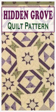 The Hidden Grove Quilt Pattern features stars. Quilting For Beginners, Quilting Tutorials, Quilting Projects, Quilting Designs, Sewing Tutorials, Quilt Block Patterns, Applique Patterns, Pattern Blocks, Quilt Blocks