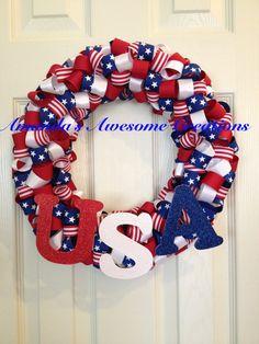 U.S.A. Ribbon Wreath 2 by boyle6834 on Etsy, $35.00