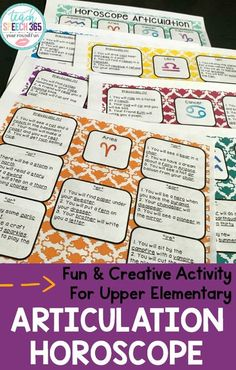 This fun and creative articulation activity is perfect for your older students! Students will work on their pre-vocalic & vocalic R sounds at the sentence and conversational level with while they read their horoscope. A fun articulation activity to do in your Speech Therapy sessions with kids 3rd grade, 4th grade & 5th grade and middle school! Articulation Therapy, Articulation Activities, Speech Therapy Activities, Phonological Processes, Phonological Awareness, Final Consonant Deletion, Family Game Night, Family Games, Play Therapy Techniques