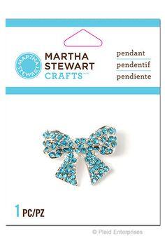 Martha Stewart Crafts® Jewelry Pendant - Blue Rhinestone Bow #PlaidEnterprises #Pendant