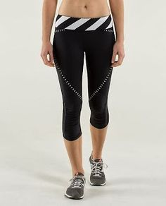 21aeb09ae2 Lululemon Run  Pace Crop - Black   Straightup Stripe Black White - lulu  fanatics