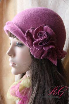 Купить Валяная шляпка Цвет орхидеи - брусничный, однотонный, валяная шляпка, шляпа женская