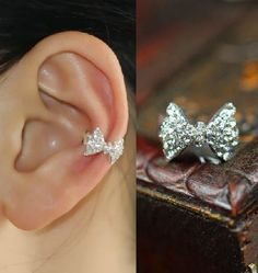 Sparkly Bow Rhinestone Ear Cuff (Single, No Piercing) from LilyFair Jewelry. Saved to Fashion Jewelry Trend. Cute Jewelry, Jewelry Box, Jewelry Accessories, Fashion Accessories, Fashion Jewelry, Ear Jewelry, Pandora Jewelry, Pandora Charms, Bling Bling