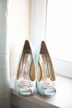 Tiffany Blue Badgley Mischka Bridal Shoes   Jenn Hopkins Photography   TheKnot.com