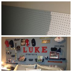 Ideas Kids Room Ideas For Boys Sports Headboards For 2019 Pegboard Headboard, Boy Headboard, Headboards, Boys Room Decor, Kids Bedroom, Bedroom Ideas, Baby Boy Rooms, Baby Room, Kids Rooms