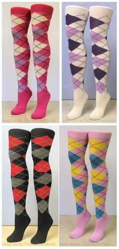 (£4.99 - FREE POSTAGE) You'll be sure to grab a hole (or drink) in one with these stunning socks. Complete your fancy dress outfit in style, with a choice of fabulous colours. #pubgolf #golf #fancydress #argyle #diamond #overkneesocks #socks