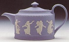 Dancing Hours Wedgwood teapot. Wedgwood Jasperware is a type of stoneware first developed by Josiah Wedgwood, although some authorities have described it as a type of porcelain. It is noted for its matte finish and is produced in a number of different colours,of which the best known is a pale blue that has become known as 'Wedgwood Blue'.
