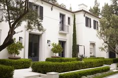 white stucco, clay tile roof, modern Mediterranean, boxwood hedges, clean white exterior, black shutters, copper gutters and collector boxes