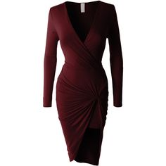 LE3NO Womens Lightweight Side Draped Bodycon Dress ($20) ❤ liked on Polyvore featuring dresses, fitted dresses, long sleeve asymmetrical dress, asymmetric bodycon dress, long sleeve stretch dress and asymmetrical dresses