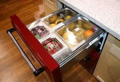 Refrigerator Drawers - Refrigerator Drawers - Refrigerators & More - Product Guide Want to store your produce near the sink, but your beverages near the dining table? Consider adding refrigerator or combination refrigerator/freezer drawers into the mix. Kitchen Pantry, Kitchen Reno, Kitchen Hacks, Kitchen And Bath, Kitchen Gadgets, Kitchen Remodel, Kitchen Appliances, Kitchen Ideas, Fridge Drawers