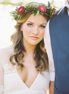 Mountain Top Elopement Shoot Featuring Becca from The Bachelor - Style Me Pretty Wedding Hair And Makeup, Wedding Beauty, Bridal Hair, Hair Makeup, Dream Wedding, Bridal Beauty, Makeup Lipstick, Flower Crown Wedding, Flower Crowns