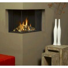 De #Helex I-Frame 63 45 Hoek is een 2-zijdige hoekhaard die volledig kan worden geïntegreerd in de wand, #Gaskachel #Gashaard #Kampen #Interieur #Fireplace #Fireplaces