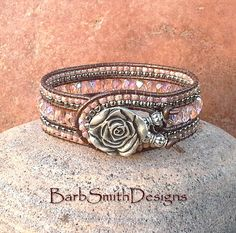 Pink Rose Beaded Leather Cuff Wrap Bracelet - The Indian Princess in Tea Rose - Custom Size It!