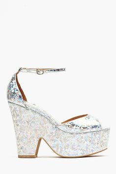 Brazen Platform - Hologram- Jeffrey Campbell  *Intertwining Trends: Pairing classic 70's silhouette with holographic finish