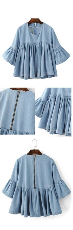 Blue Bell Sleeve Ruffle Denim Doll Blouse