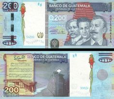 """Guatemala 200 Quetzales Motivo anverso Germán Alcántara, Mariano Valverde y Sebastián Hurtado, reverso notas musicales de """"La Flor del Café"""